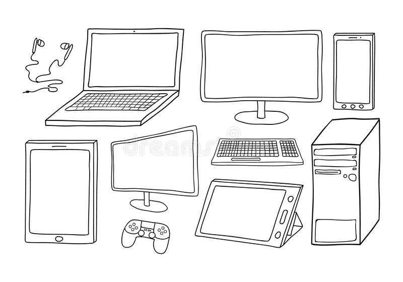 Electronic devices including computer, laptop, smart phone, tablets, keyboard, games controller and ear phones. White filled, isol stock illustration
