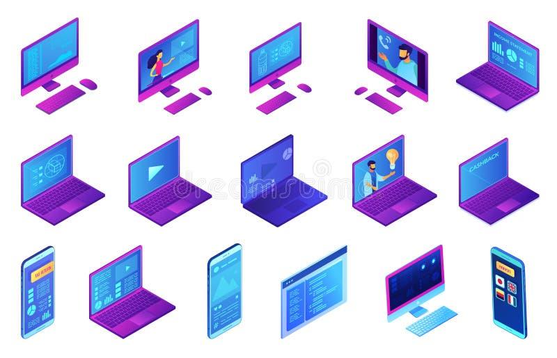 Electronic devices isometric 3D illustration set. stock illustration