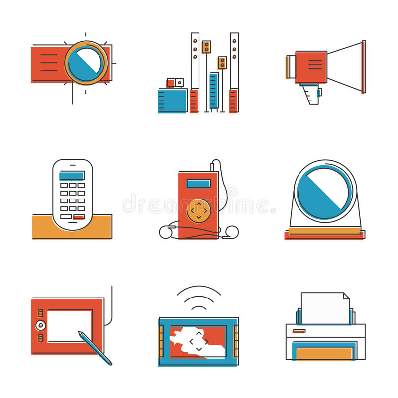 Electronic devices line icons set. Abstract icons of digital devices and electronics like digital tablet, projector, printer, music player and cordless phone stock illustration