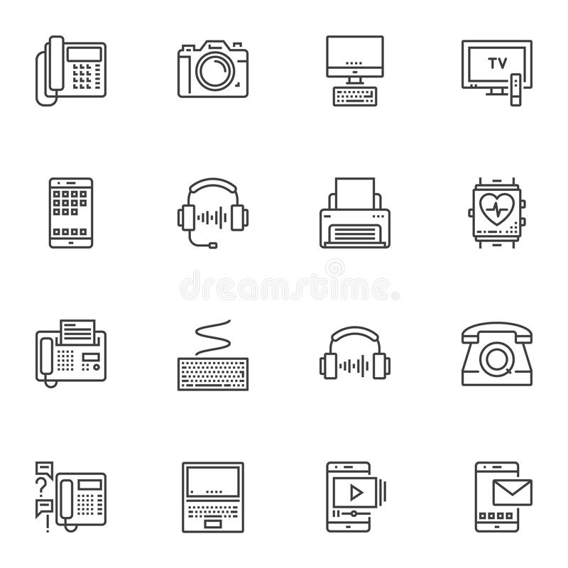 Electronic devices line icons set vector illustration