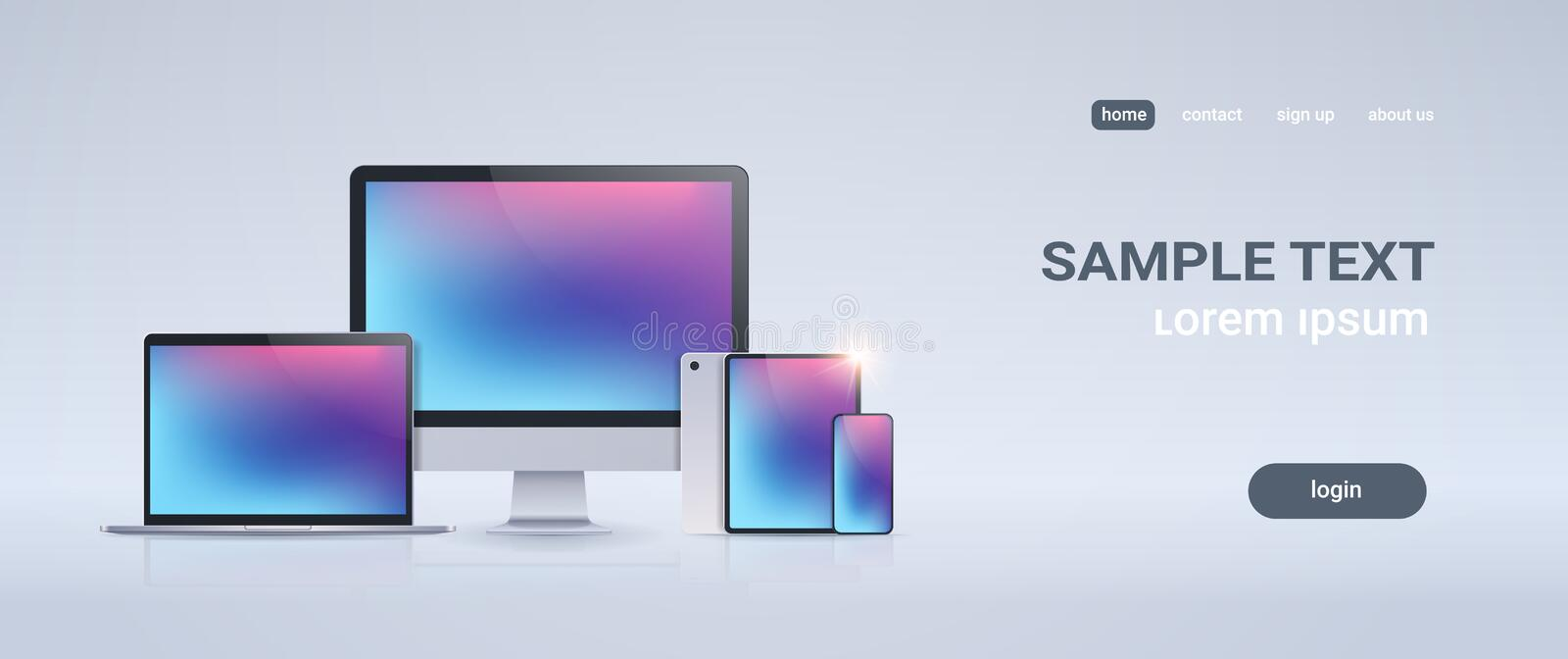 Electronic devices mockup set laptop monitor tablet and smartphone with colorful screen on gray background digital vector illustration