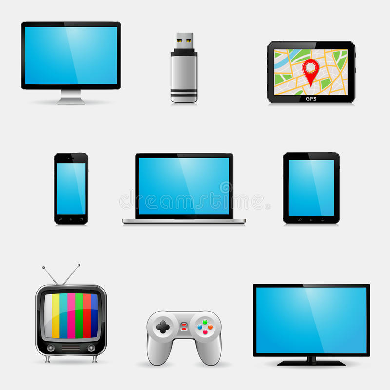 Electronic devices and multimedia gadgets icons. Vector illustration stock illustration