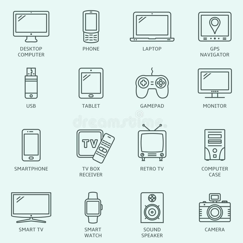 Electronic devices outline icons. Modern technology devices set vector illustration