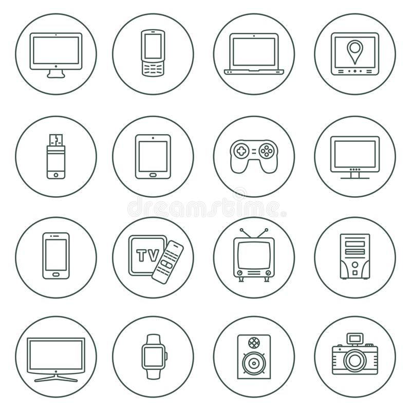Electronic devices outline icons. Technology device icons set. Thin line icons set. Icons for technology, electronic devices. Vector illustration royalty free illustration