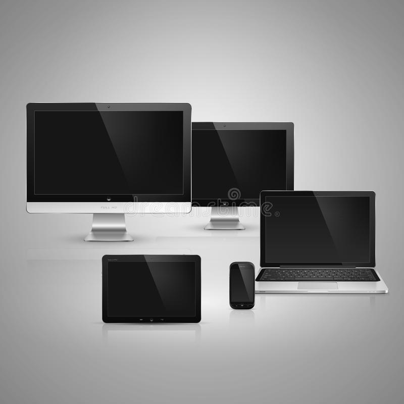 Electronic devices. Realistic high detailed vector illustration of electronic devices on gray background vector illustration