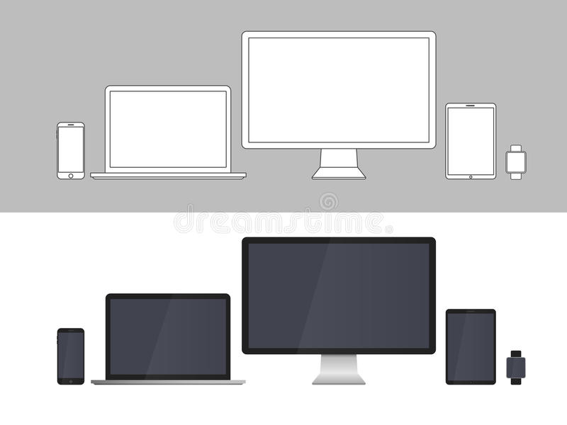 Electronic Devices Screens isolated on white background vector illustration