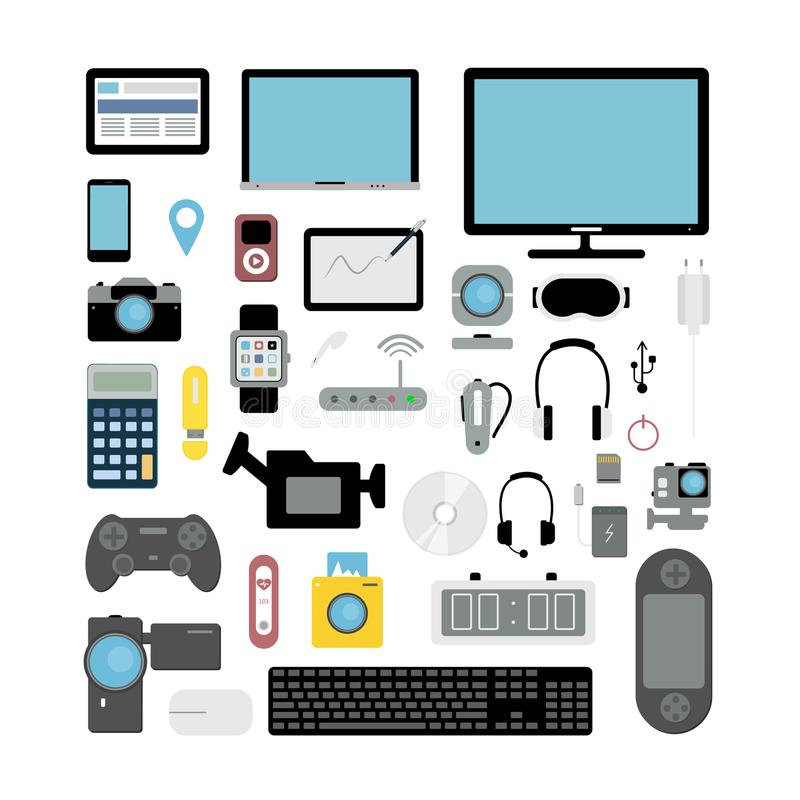 Electronic devices set. Camera and computer, smartphone and headphones vector illustration