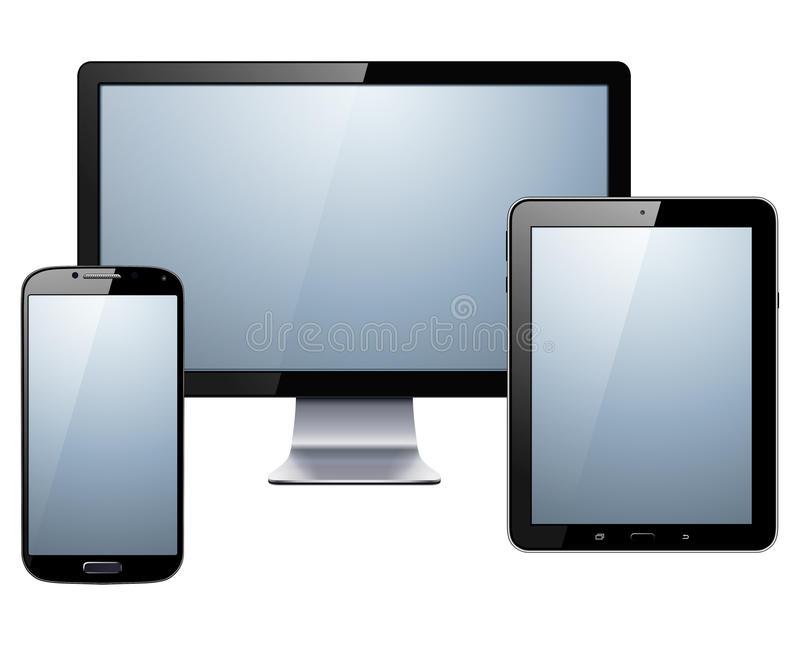Electronic devices set. Tablet, smartphone and monitor, vector illustration royalty free illustration