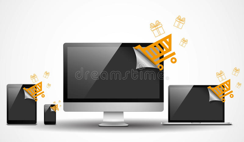 Electronic devices with shopping icons vector illustration