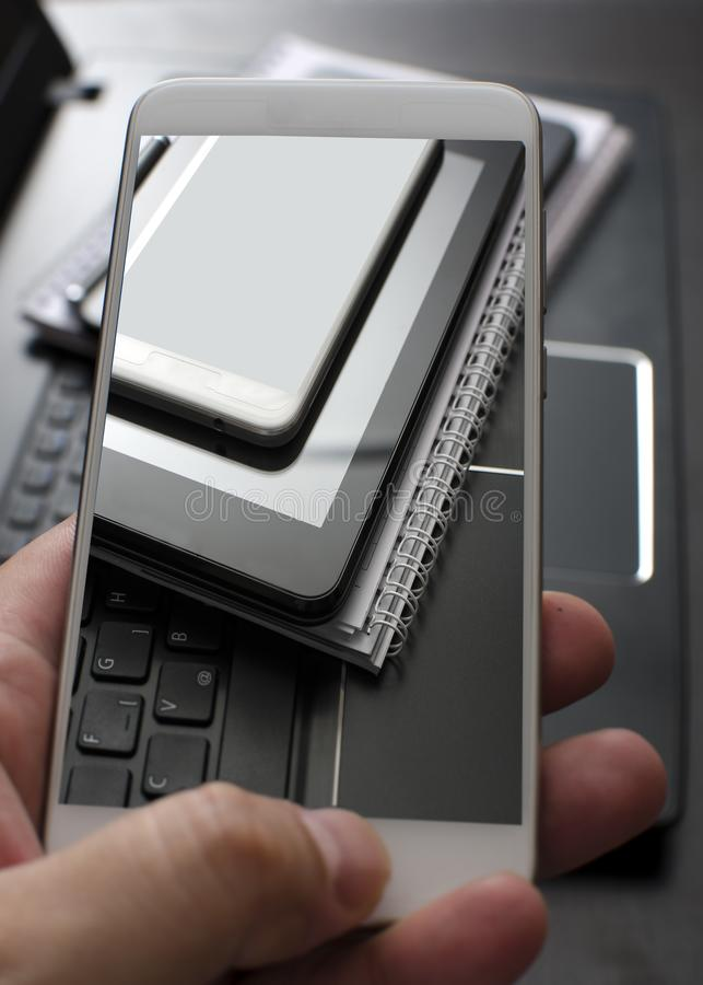 Electronic devices, smartphone, laptop and tablet pc. In close up royalty free stock photo