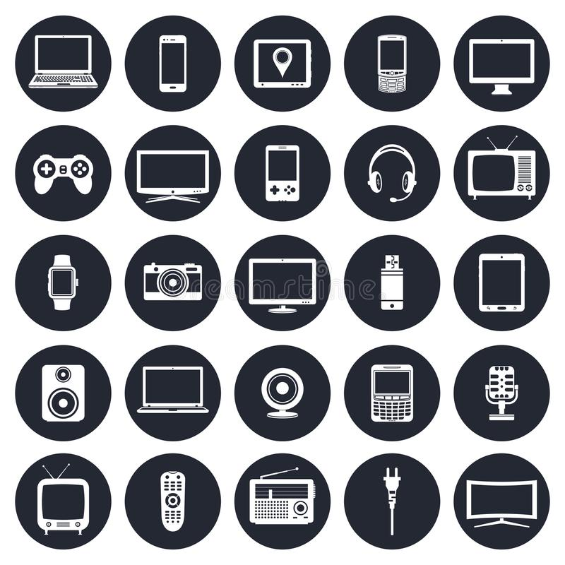 Electronic devices, technology gadgets icons set royalty free illustration