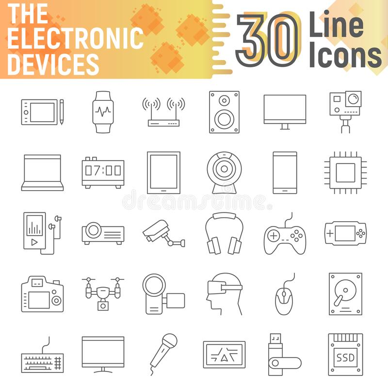 Electronic devices thin line icon set, media signs vector illustration