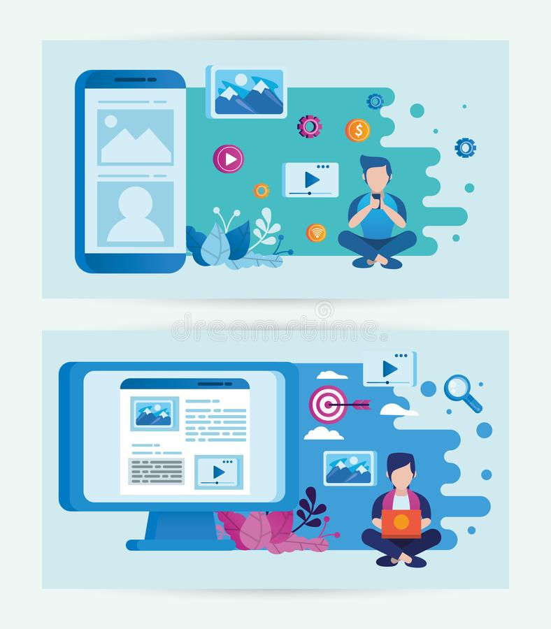 Electronic devices and users with social media marketing icons 向量例证