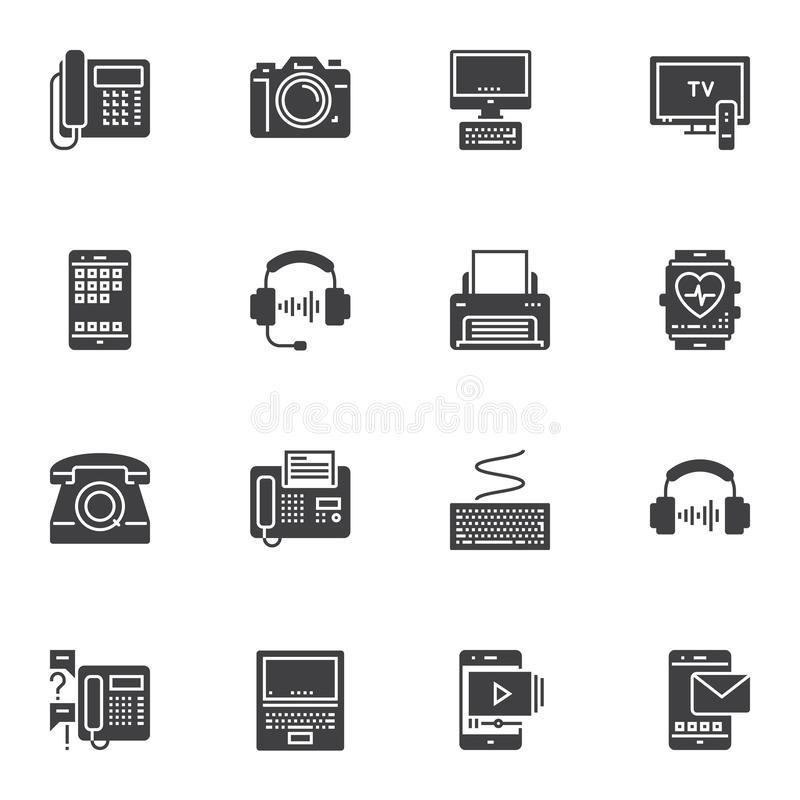 Electronic devices vector icons set. Modern solid symbol collection, filled style pictogram pack. Signs, logo illustration. Set includes icons as telephone vector illustration