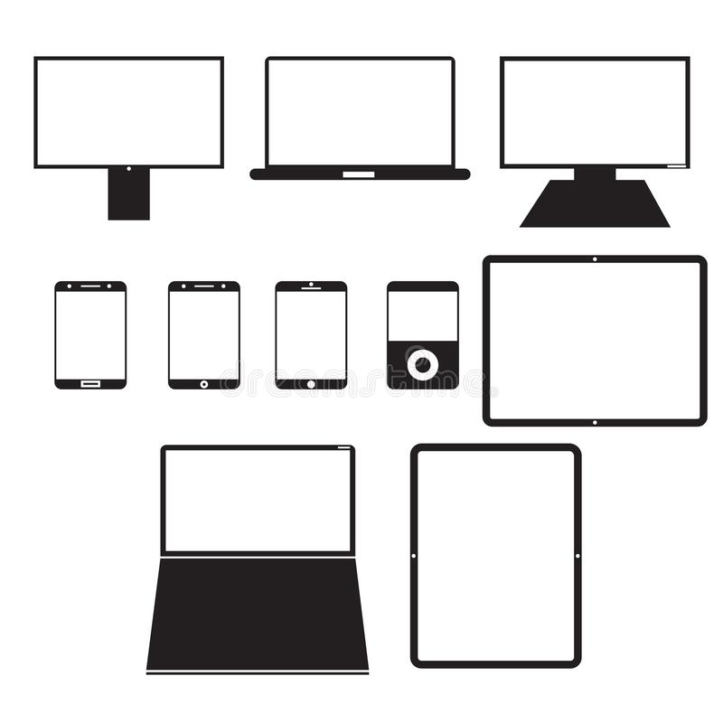 Electronic Devices. Electronic devices on a white background stock illustration