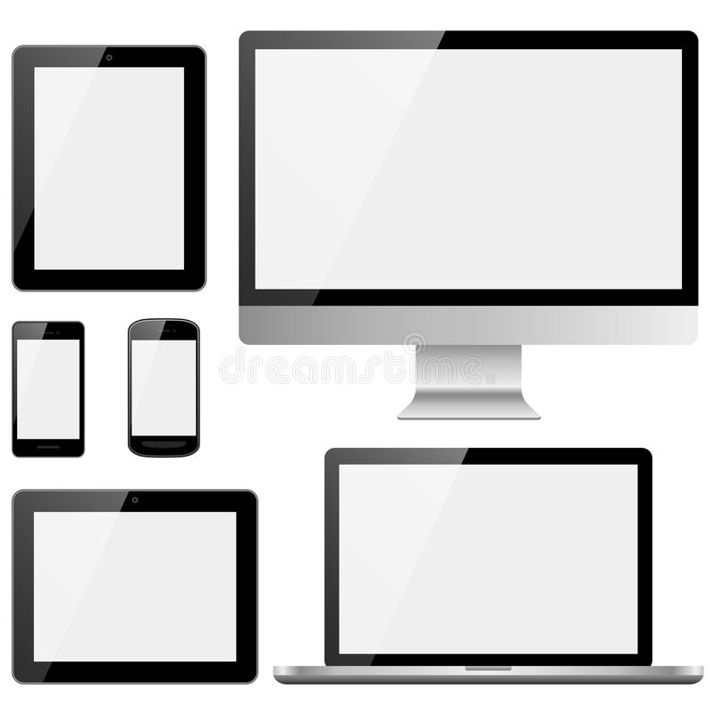 Electronic Devices with White Screens. Set of electronic devices with white, shiny screens isolated on white background. Devices include desktop computer, laptop vector illustration