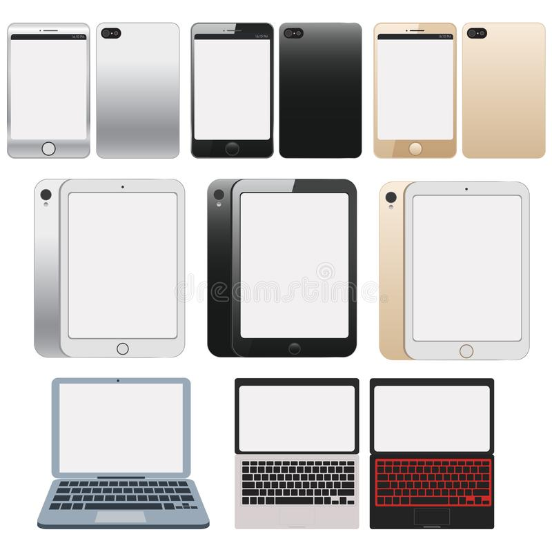 Electronic Devices with White Screens. Electronic devices with white, shiny screens isolated on white background, desktop computer royalty free illustration