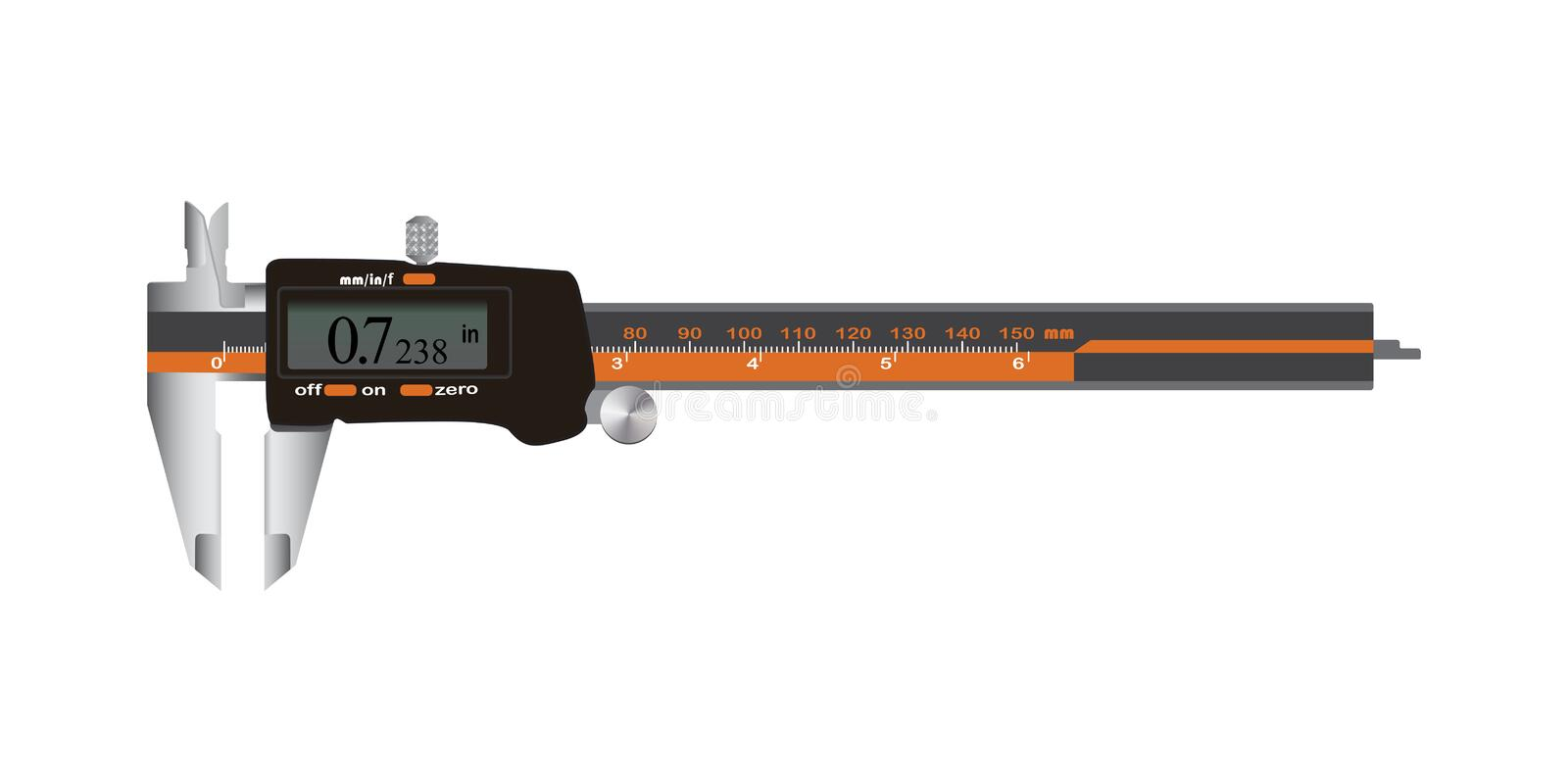 Electronic Digital Caliper with screen auto off featured measuring tool. Vector Illustration isolated on white background royalty free illustration