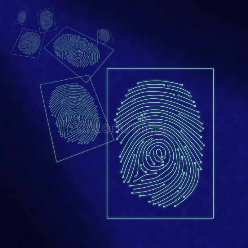 Electronic digital fingerprint processing royalty free stock photos