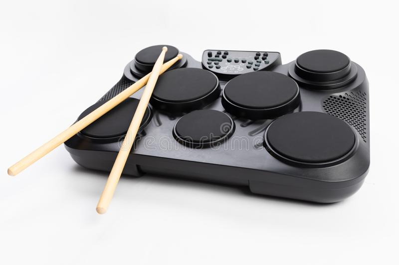 Electronic drums portable music device on white royalty free stock photo