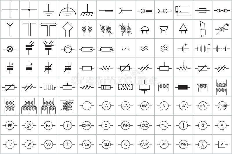 96 Electronic And Electric Symbol V.1 Stock Vector - Illustration of ...