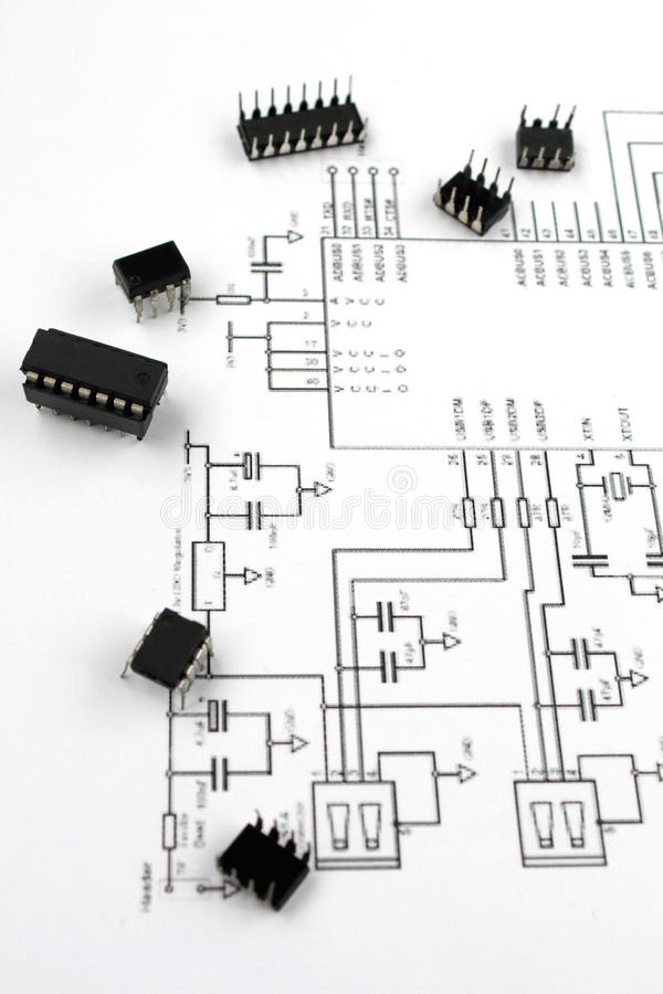 Electronic elements. And electronic scheme stock photo