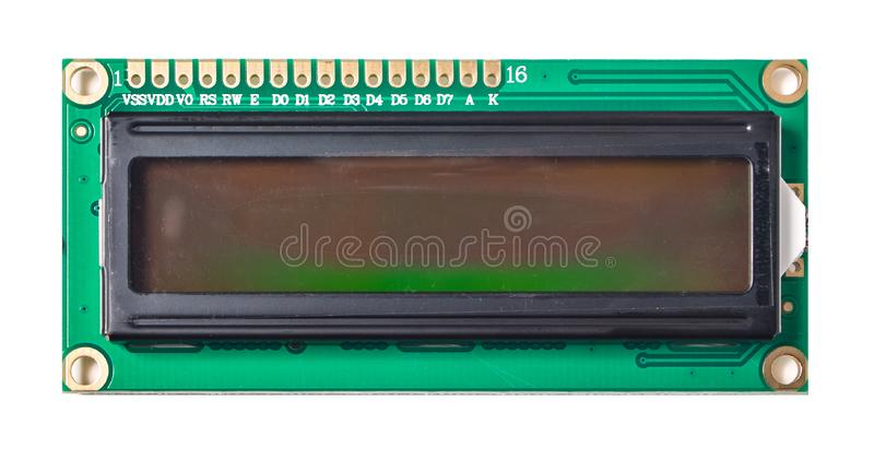 Electronic embedded system component liquid crystal display LCD isolated on the white background royalty free stock image
