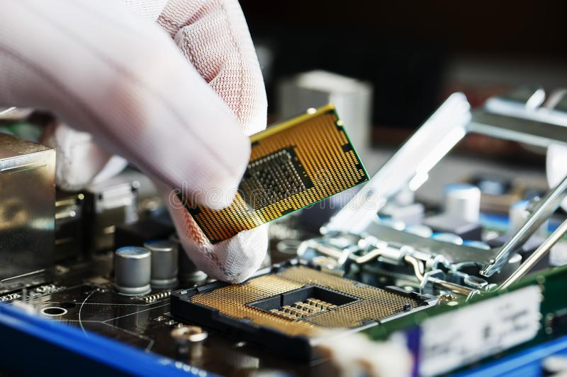 Electronic engineer of computer technology. Maintenance computer cpu hardware upgrade of motherboard component. Pc repair, technic. Ian and industry support stock photography