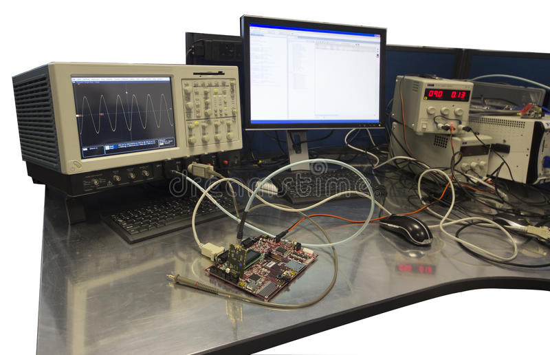 Electronic Engineer Workbench stock photography