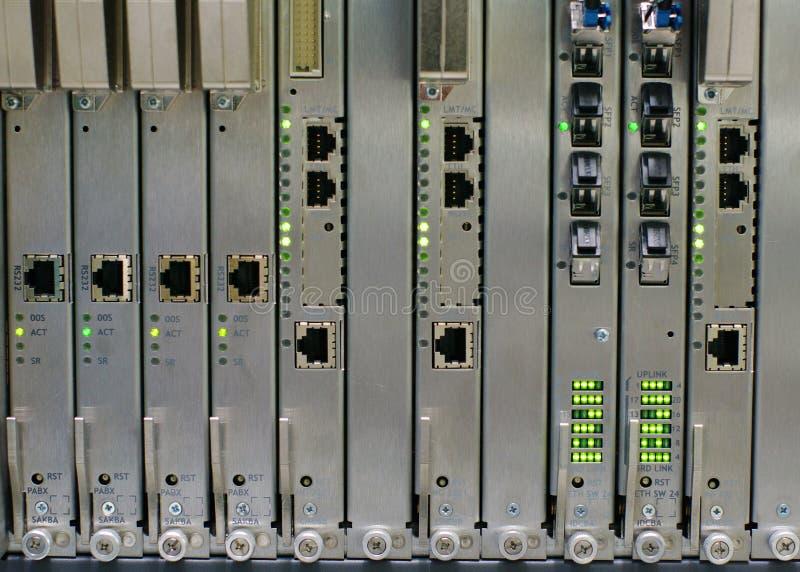 Electronic equipment. Electronic switching equipment on digital telephony exchange stock photos