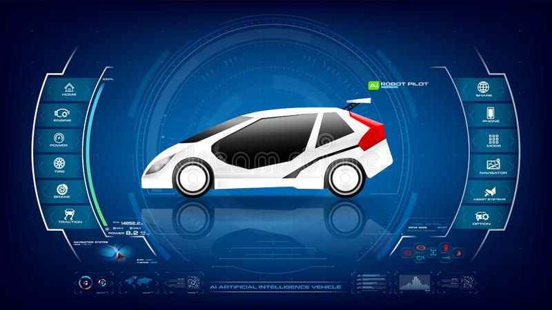 Electronic EV car with AI interface 001. EV electric vehicle car user interface with Ai artificial intelligence HUD GUI with for cyber futuristic transport vector illustration