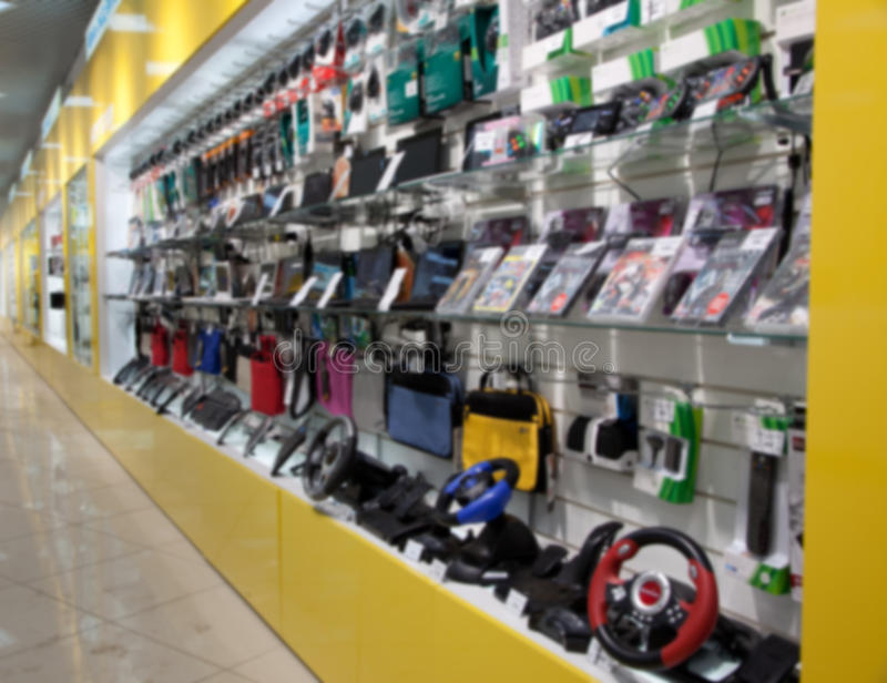 Electronic gadget in store. Blured.  stock images