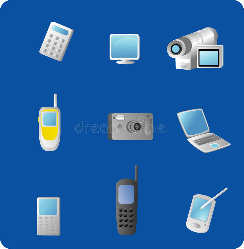 Download Electronic Gadgets stock vector. Image of blue, monitor - 4348825