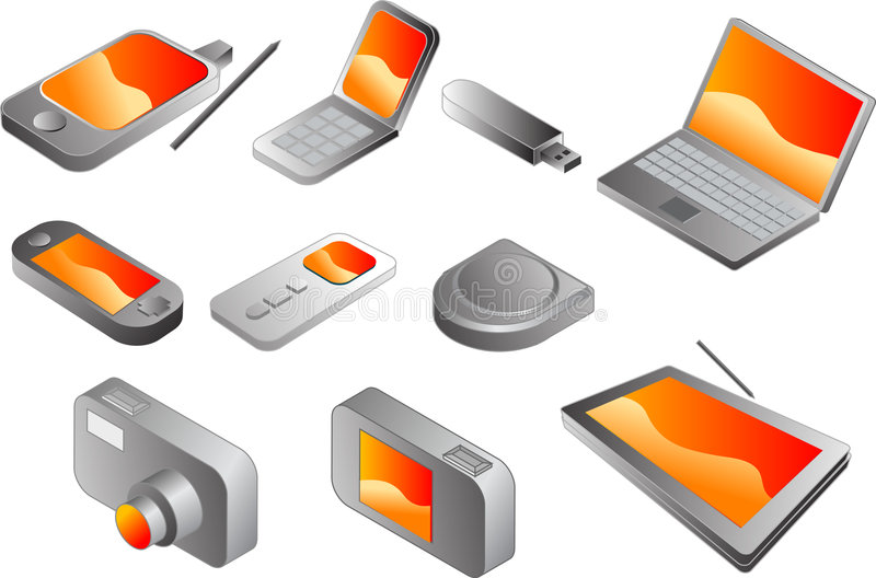 Download Electronic gadgets stock vector. Image of storage, computer - 5268860