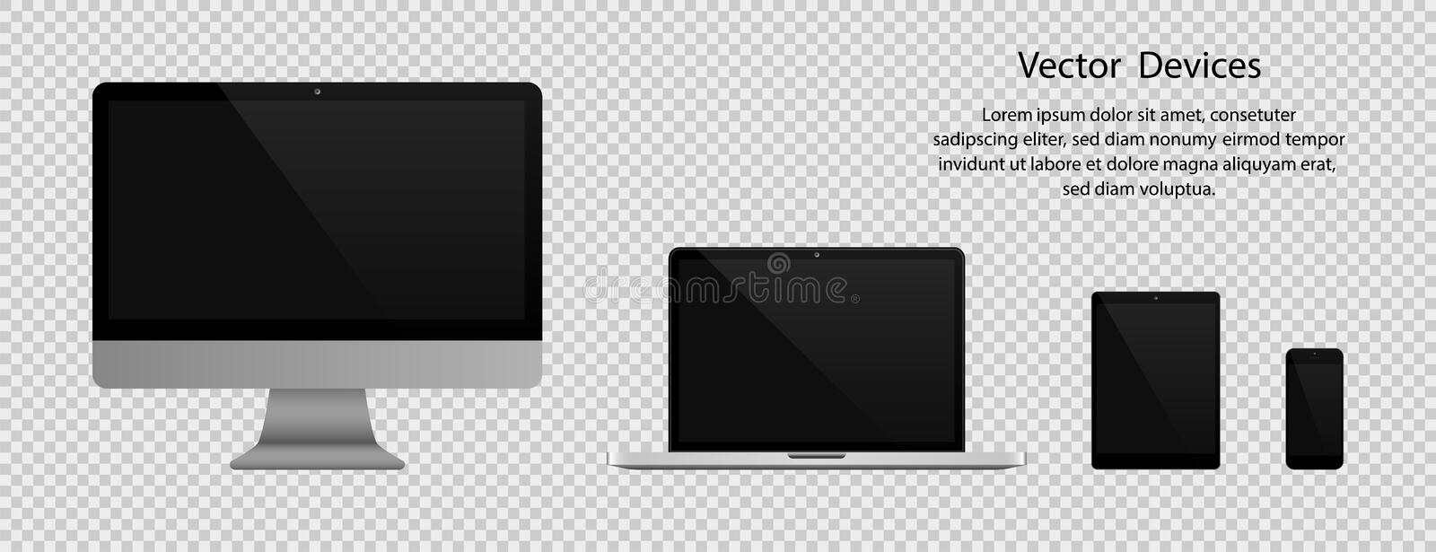 Electronic gadgets. Realistic Computer monitor, Laptop, Tablet and Phone with black screen on transparent background stock illustration