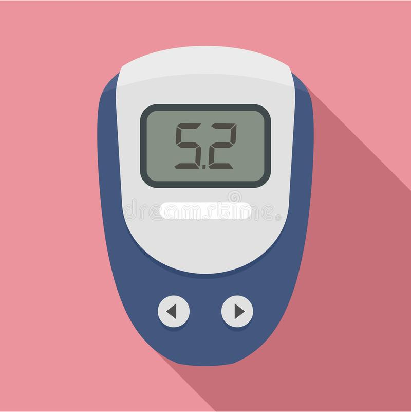 Electronic glucometer icon, flat style. Electronic glucometer icon. Flat illustration of electronic glucometer vector icon for web design stock illustration