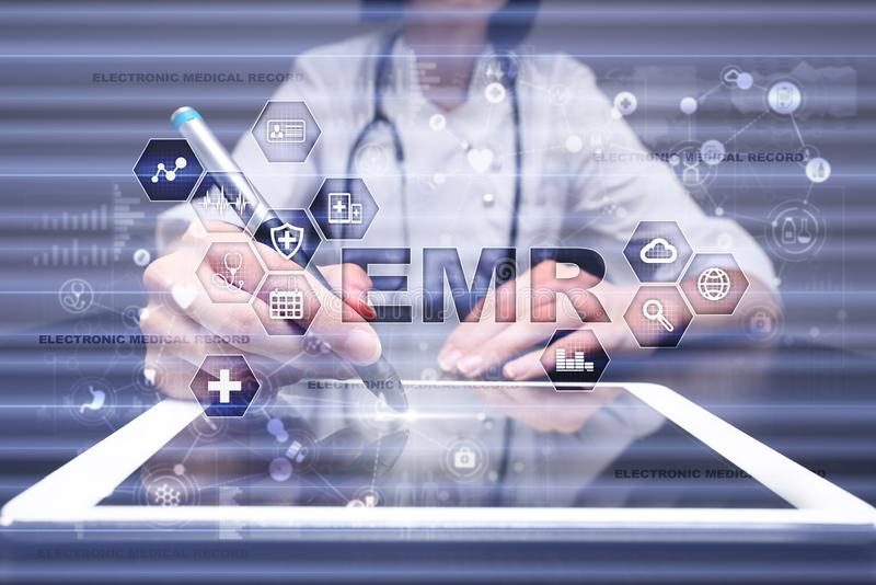 Electronic health record. EHR, EMR. Medicine and healthcare concept. Medical doctor working with modern pc. stock images