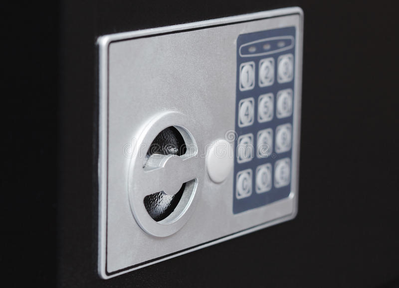 Electronic home safe keypad, Small home or hotel wall safe with keypad royalty free stock images