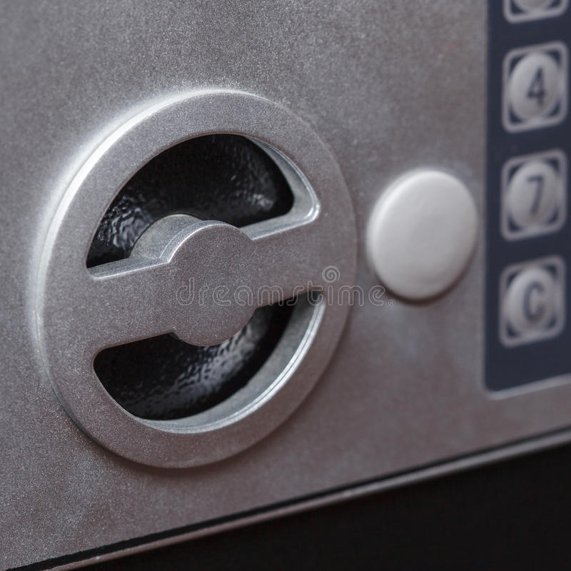 Electronic home safe keypad, Small home or hotel wall safe with keypad. Closeup stock images