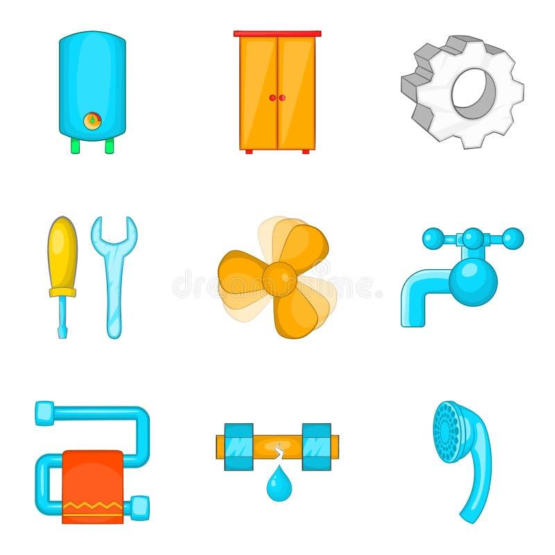 Electronic house icons set, cartoon style stock illustration