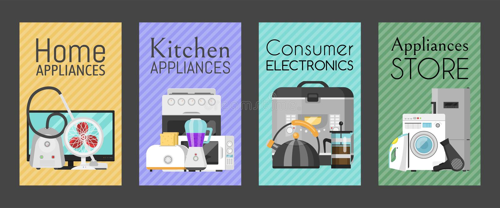 Electronic household appliances set of cards vector illustration. Kitchen and home equipment for house. Washing machine. Vacuum cleaner, microwave oven, kettle vector illustration
