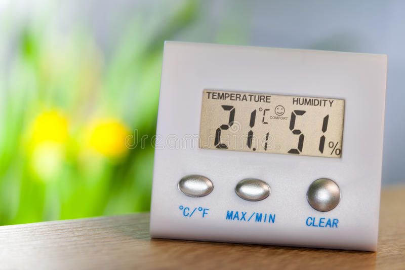 Electronic hygrometer and thermometer royalty free stock photo