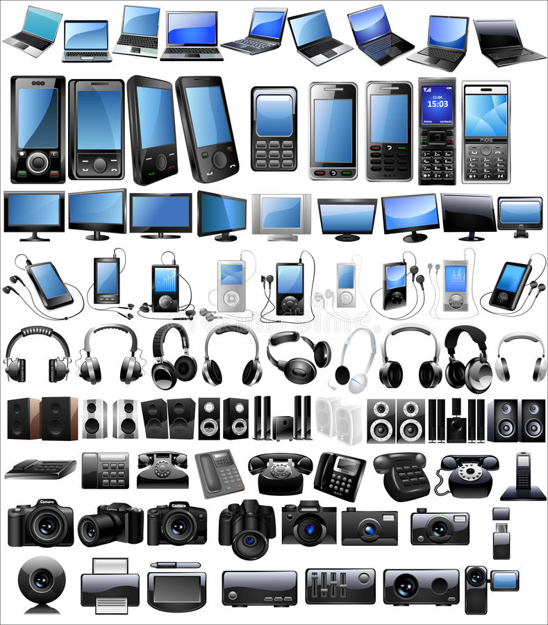 Electronic icon set. Icon set of electronic equipment and devices