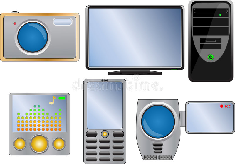 Download Electronic  icon set stock vector. Illustration of electronic - 7261907