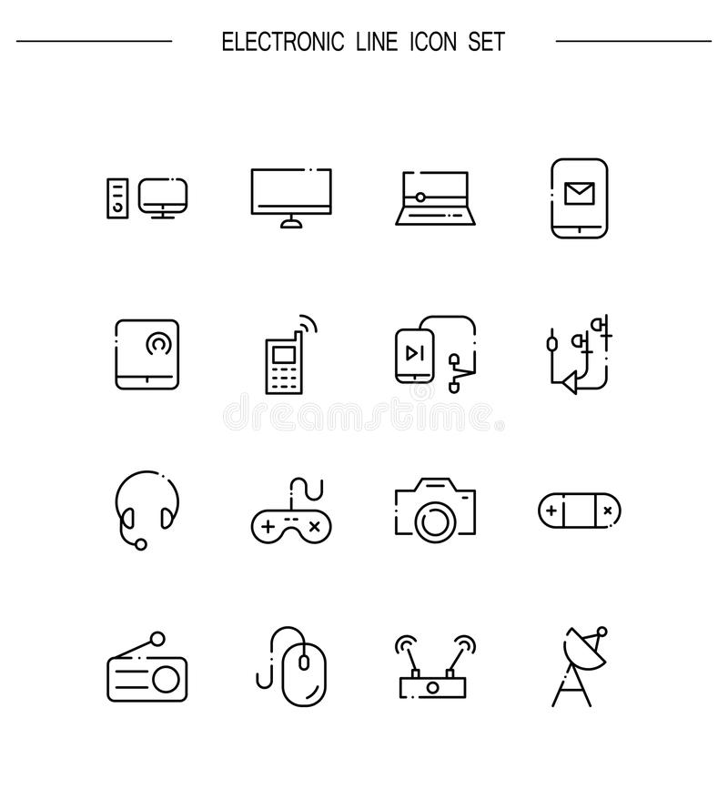 Electronic icon set. Electronic flat icon set. Collection of high quality outline symbols for web design, mobile app. Electronic vector thin line icons or logo vector illustration