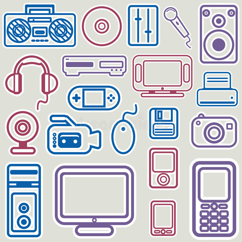 Download Electronic icon set vector stock vector. Image of communication - 7678290