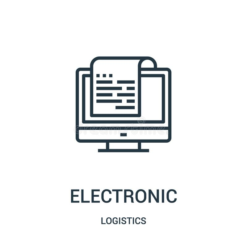 electronic icon vector from logistics collection. Thin line electronic outline icon vector illustration. Linear symbol for use on royalty free illustration