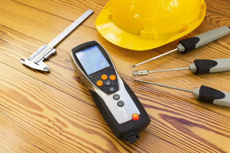 Download Electronic Instrument For Measuring Of Temperature Probes On Wood Background Stock Image - Image: 69162795