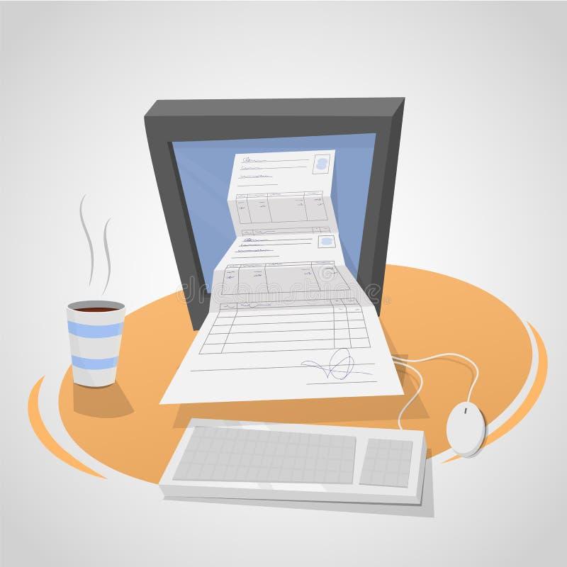 Electronic invoice stock illustration