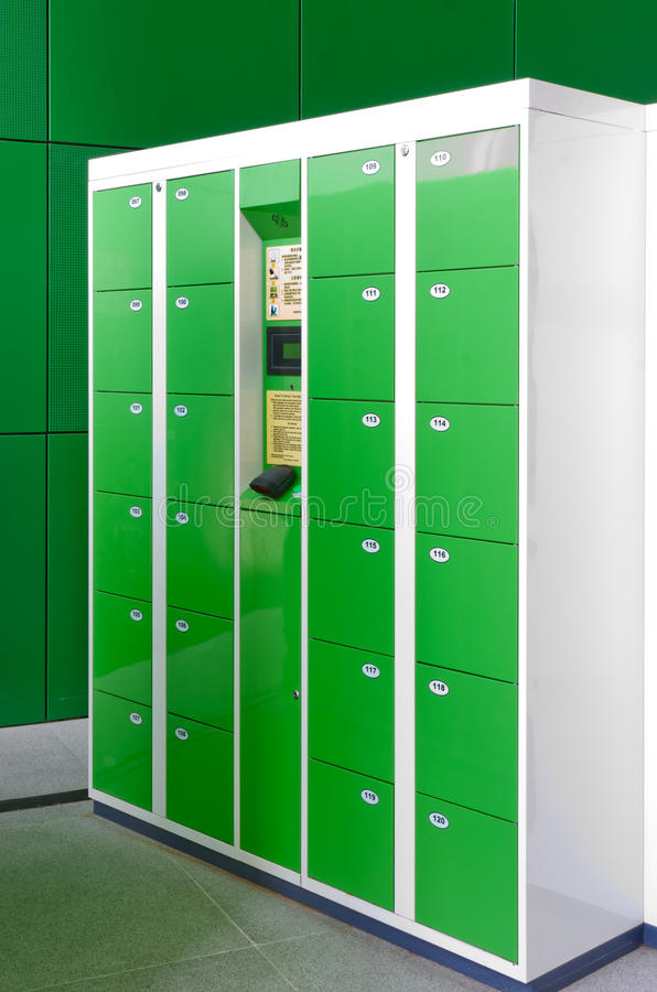 Electronic lockers. In public places royalty free stock photo
